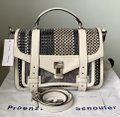 Proenza Schouler Ps1 Medium Ps1 Leather Satchel in Multicolor Woven Canvas and Image 1