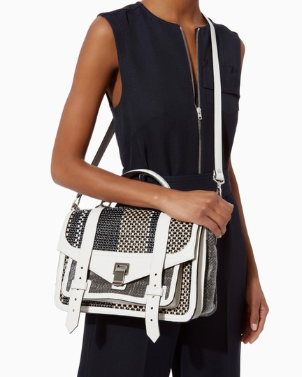 Proenza Schouler Ps1 Medium Ps1 Leather Satchel in Multicolor Woven Canvas and Image 11