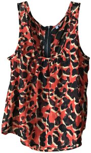 Charlotte Russe Abstract Deep U-neck Zipper High-low Polyester Top Red w/Black and Tan