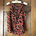 Charlotte Russe Abstract Deep U-neck Zipper High-low Polyester Top Red w/Black and Tan Image 2