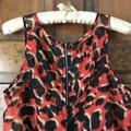 Charlotte Russe Abstract Deep U-neck Zipper High-low Polyester Top Red w/Black and Tan Image 3