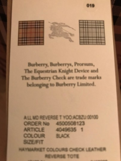 Burberry Reversible Leather Tote in Black and Haymarket Check Image 6