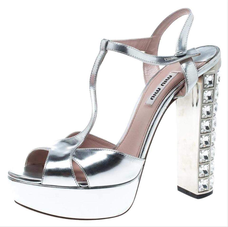 d0f358ddb980 Miu Miu Leather Strappy Crystal Embellished Silver Platforms Image 0 ...