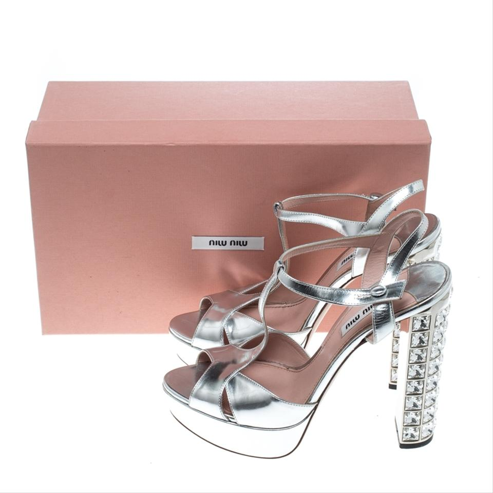 646217cbe17 Miu Miu Silver Leather T Strap Crystal Embellished Heel Sandals ...