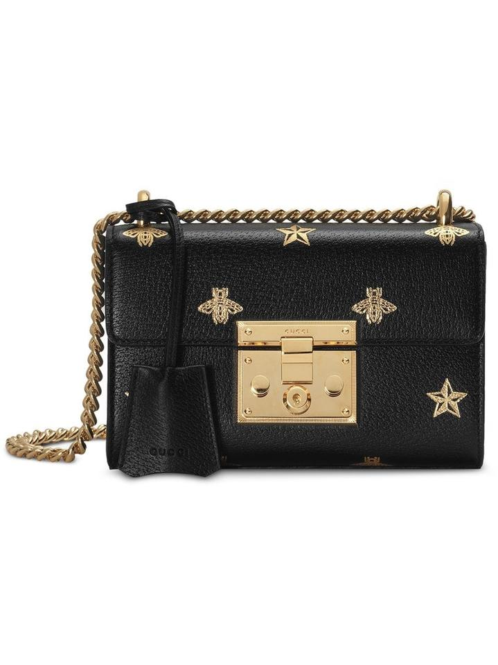 f886e7017210 Gucci Shoulder Padlock New Small Star Bees Black Leather Cross Body ...