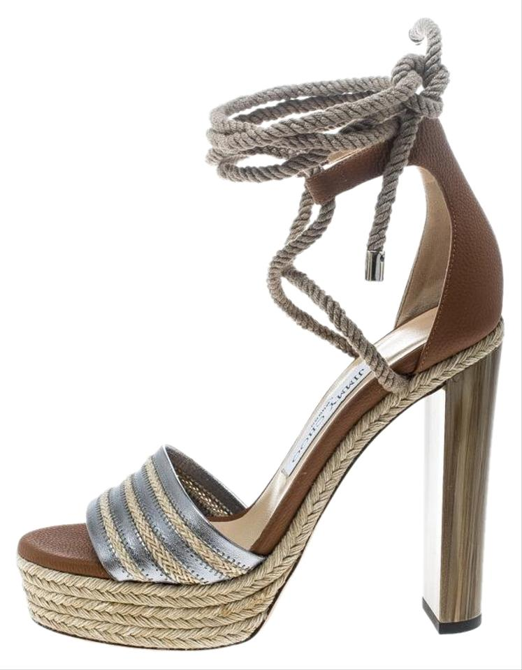 0959788fc14 Jimmy Choo Brown Two Tone Leather Mayje Espadrille Trim Ankle Tie ...