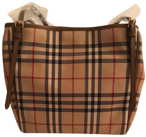 e4521825d3ed Burberry Canter Horseferry Check Tote in Honey  Tan