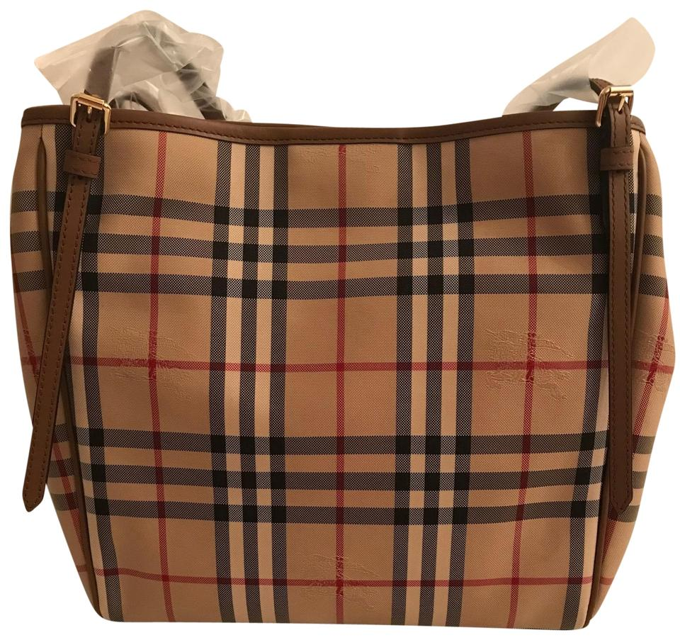 Burberry Horseferry Check Small Canterbury Canvas Leather Honey  Tan ... 92067f39d570c