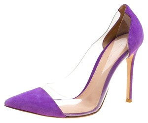 Gianvito Rossi Suede Pointed Toe Purple Pumps