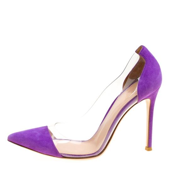 Gianvito Rossi Suede Pointed Toe Purple Pumps Image 1