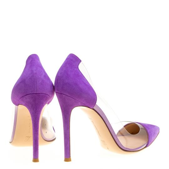 Gianvito Rossi Suede Pointed Toe Purple Pumps Image 2