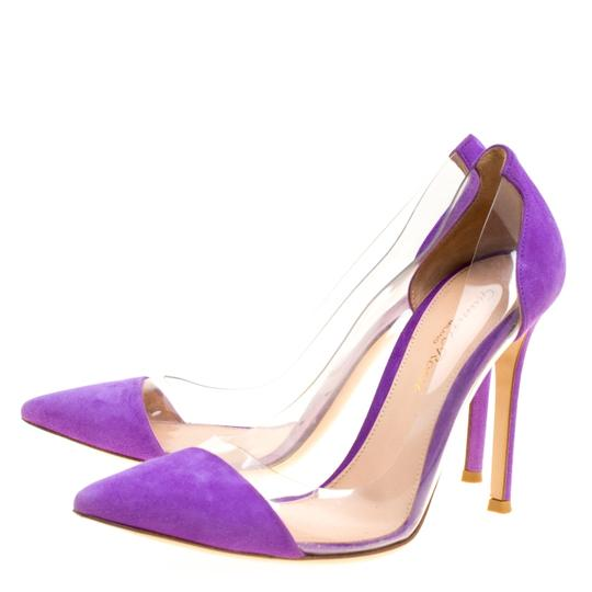 Gianvito Rossi Suede Pointed Toe Purple Pumps Image 3