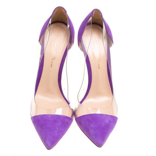 Gianvito Rossi Suede Pointed Toe Purple Pumps Image 4
