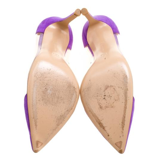 Gianvito Rossi Suede Pointed Toe Purple Pumps Image 5