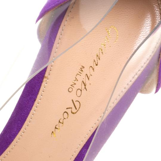 Gianvito Rossi Suede Pointed Toe Purple Pumps Image 6