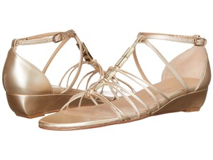 Stuart Weitzman Metallic Strappy Wedge Gold Sandals