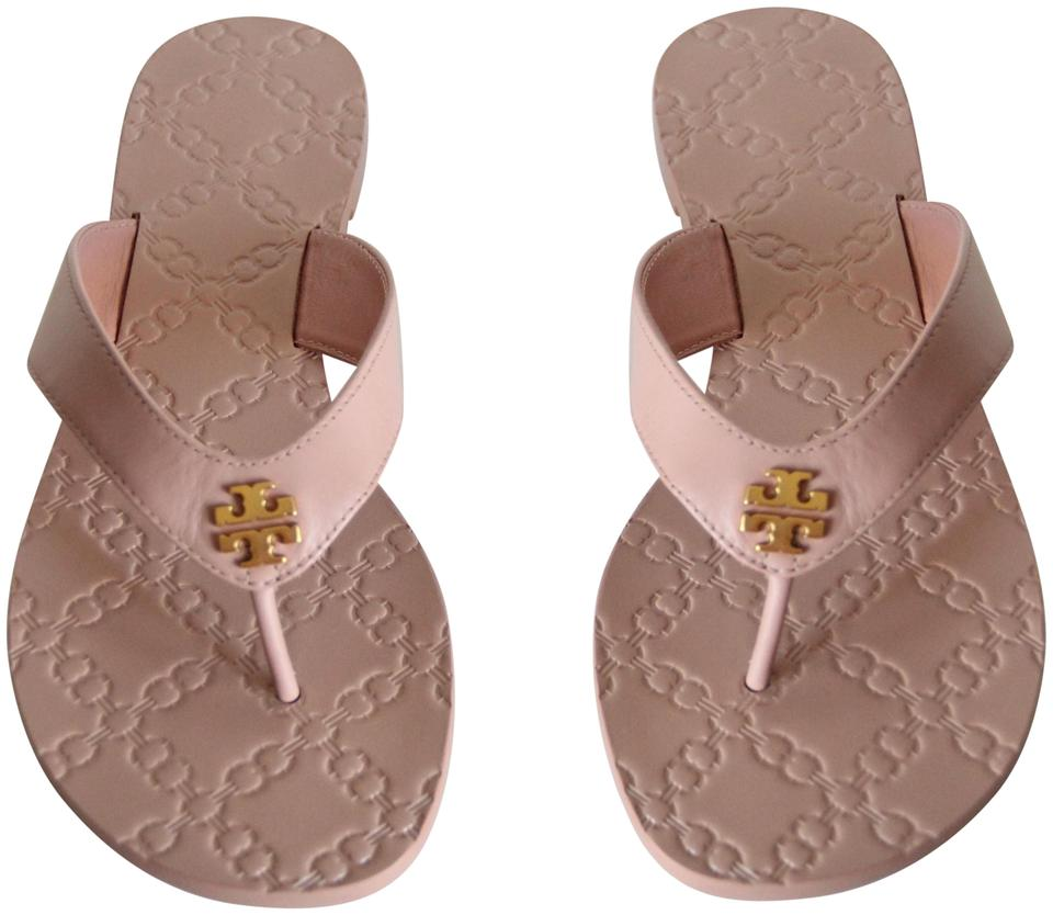 bf769636aee Tory Burch Beige Monroe Leather Thong Light Makeup Sandals Size US 9 ...