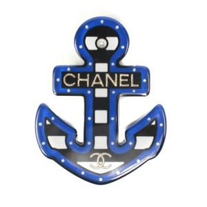 Chanel New: 2018 Anchor Pin Brooch Pearl Blue Stripes CC Logo Gold 18A