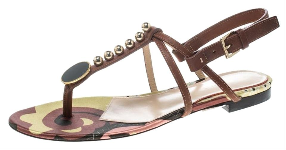 7271ffc12 Etro Brown Leather Embellished Thong Sandals Flats Size EU 41 ...