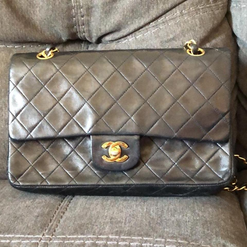 e50198730d34 Chanel Classic Flap Quilted Medium with Gold Hardware. Black Lambskin  Leather Shoulder Bag