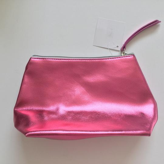 Nordstrom Metallic Makeup Pink Faux Leather Weekend/Travel Bag Image 4