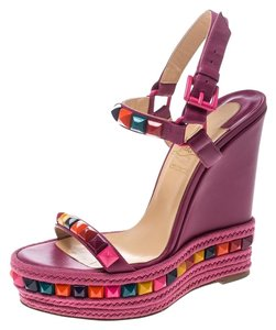Christian Louboutin Studded Leather Espadrille Pink Sandals