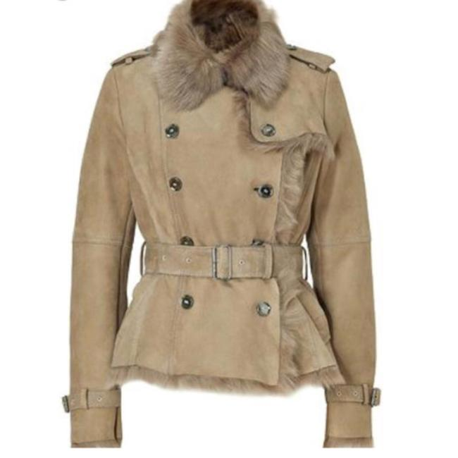 Item - Beige Tan Natural Shearling Lambskin Jacket Trench Coat Size 6 (S)