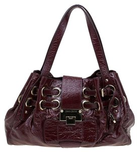 9ed94b4571b Jimmy Choo Suede Patent Leather Tote in Burgundy