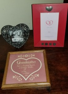 Silver Red Pink 3 Heart Photo Frames