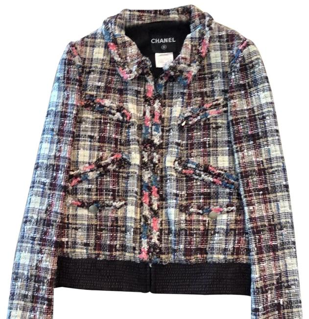 Item - Cream Brown Blue and Pink Tweed P32257v209007 Jacket Size 8 (M)