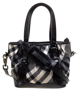 Burberry Nylon Patent Leather Tote in Black