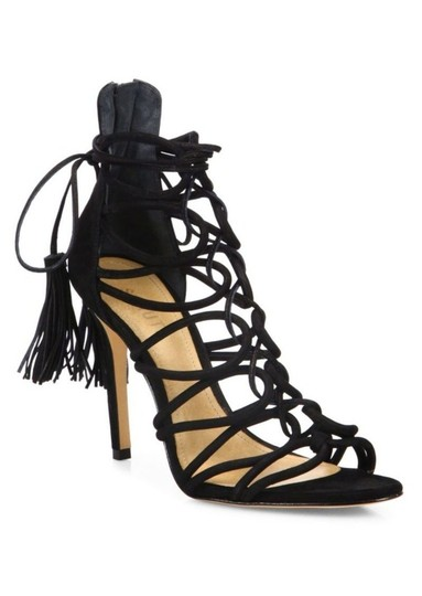 Schutz Black Valquis Suede Lace Up Cage Sandals Heels