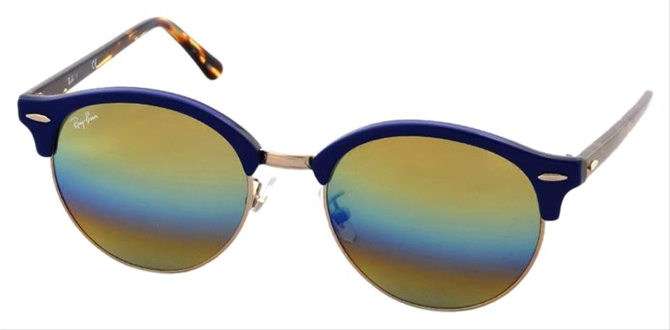 dc31411675 Ray-Ban Round Clubmaster Blue Gold Tone Frame   Gold Rainbow Mirrored Lens  Rb4246f 1223c4 Style Unisex Sunglasses