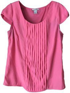 H&M Pleated Pullover U-neckline Capped Sleeves Polyester Top Pink
