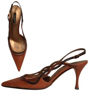 Dolce&Gabbana Leather Slingback Mule Stiletto Made In Italy Brown Pumps