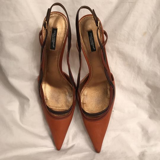 a4fc7c1e28 ... Dolce&Gabbana Leather Slingback Mule Stiletto Made In Italy Brown Pumps  Image 1