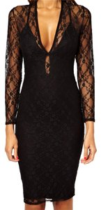 Stretch Long Sleeve lace Neck Midi Pencil Dress sleeve mesh deep v Dress