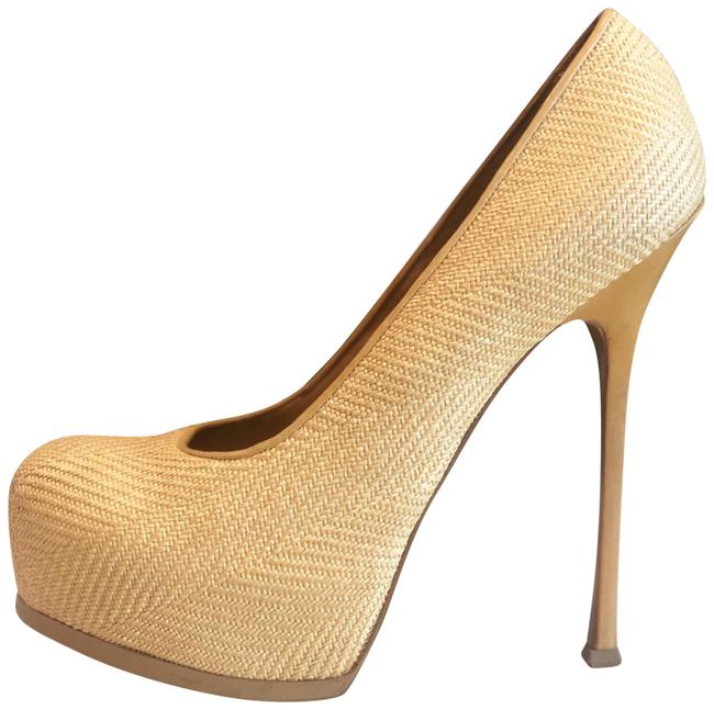 Item - Yellow Ysl Yves Tribtoo Natural Woven Stiletto Platform Heels 40 9 Pumps Size US 10 Regular (M, B)