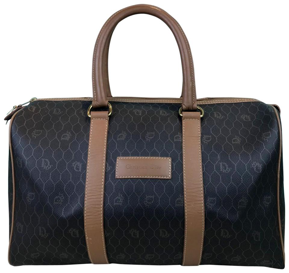 Dior Vintage Boston Duffel Brown Coated Canvas Weekend Travel Bag ... d57a99096ae75