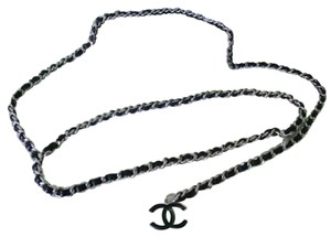 Chanel Chanel belt chain black leather with silver classic style
