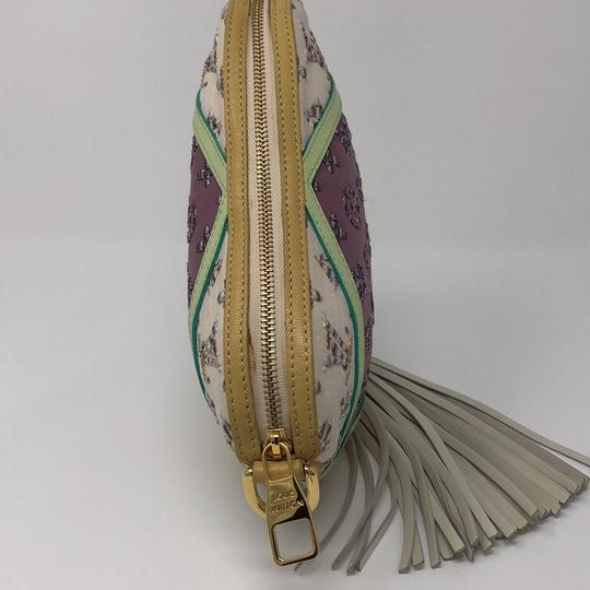 Louis Vuitton Monogram Leather Calfskin Jacquard Wristlet in violet, yellow, beige, multi color python in handle Image 3