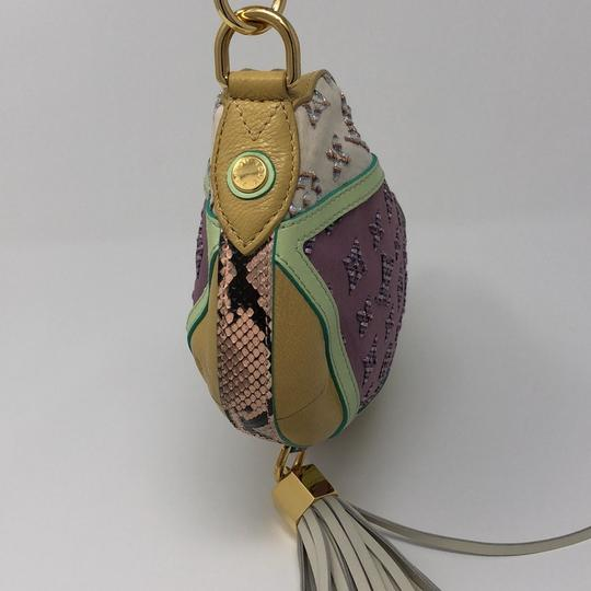 Louis Vuitton Monogram Leather Calfskin Jacquard Wristlet in violet, yellow, beige, multi color python in handle Image 4