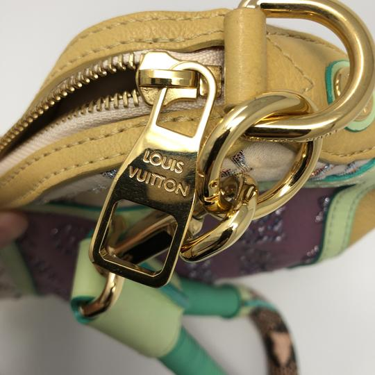 Louis Vuitton Monogram Leather Calfskin Jacquard Wristlet in violet, yellow, beige, multi color python in handle Image 8