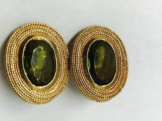 Vintage Clip Earring with a gold trim and green olive stone Image 1
