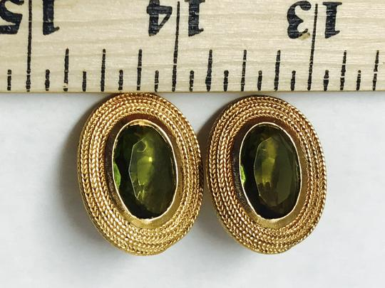 Vintage Clip Earring with a gold trim and green olive stone Image 2