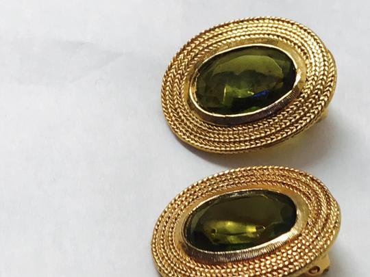 Vintage Clip Earring with a gold trim and green olive stone Image 3