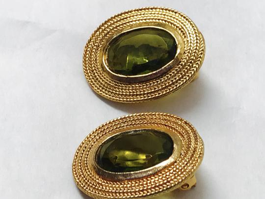 Vintage Clip Earring with a gold trim and green olive stone Image 4