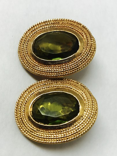 Vintage Clip Earring with a gold trim and green olive stone Image 5
