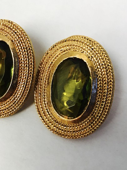 Vintage Clip Earring with a gold trim and green olive stone Image 6