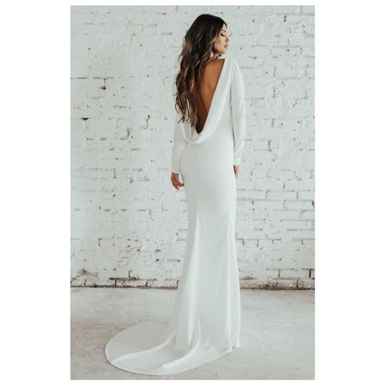 Cowl Neck Wedding Dress: Wasson Cowl Neck Long Sleeve Crepe Gown Formal Wedding